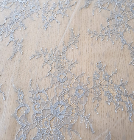 light blue floral pattern chantilly lace fabric. Photo 3