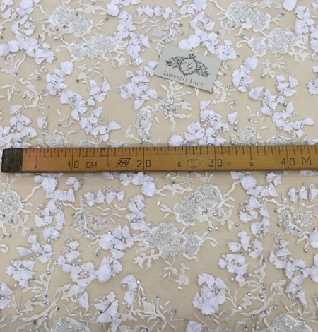 White 3D flowers lace fabric with beads. Photo 5