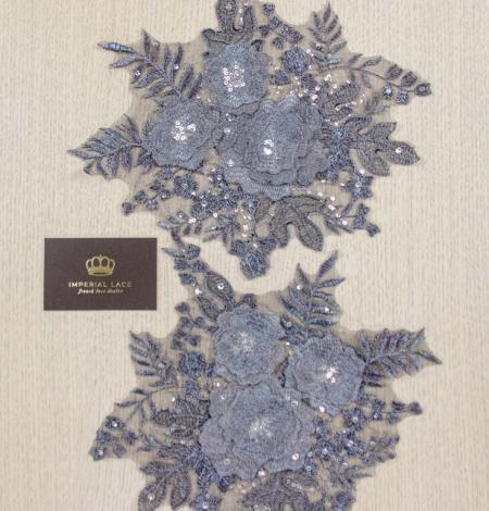 Dark grey 3D floral beaded lace applique 2 pcs set . Photo 9