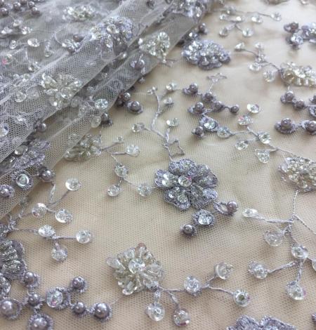 Grey beaded lace fabric. Photo 3