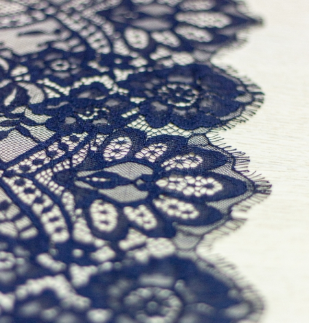 Dark blue floral pattern chantilly lace fabric. Photo 3