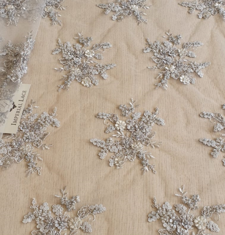 Grey 3D beaded lace fabric. Photo 2