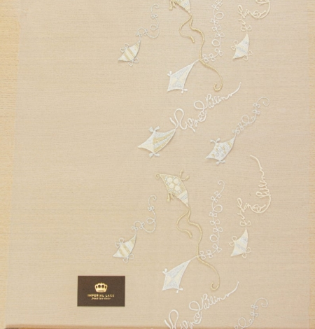 Golden figurative pattern on white tulle fabric. Photo 9