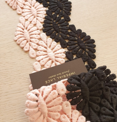 Black and pink macrame cotton lace trimming. Photo 2