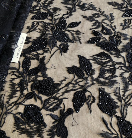 Black beaded lace fabric. Photo 1