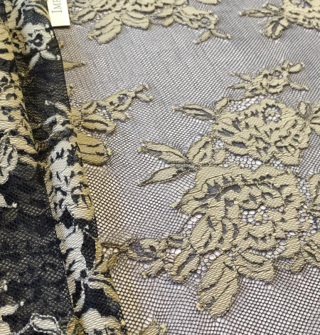 Black with beige flowers lace fabric. Photo 6