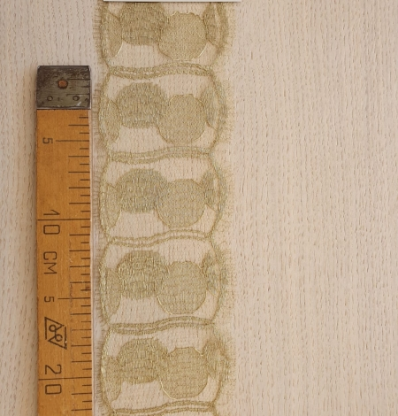 Gold chantilly lace fabric. Photo 7