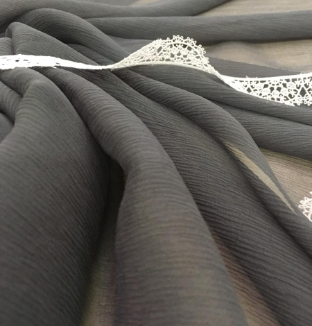 Dark grey chiffon fabric. Photo 4