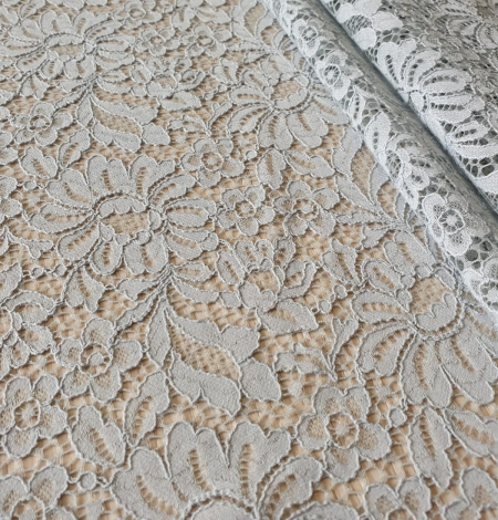 Grey guipure lace fabric. Photo 6