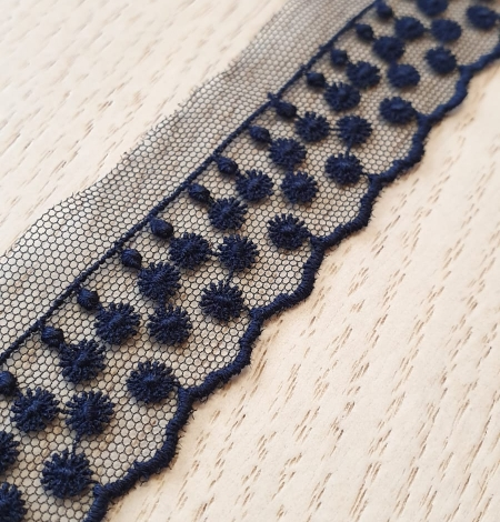 Dark blue dots on tulle lace trimming. Photo 2