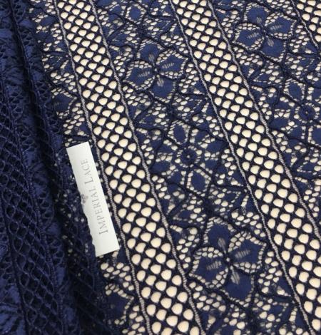 Dark blue lace fabric. Photo 1