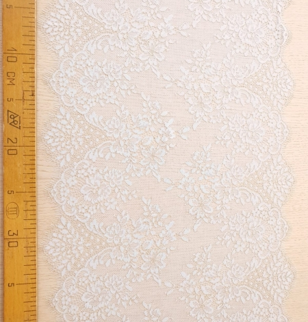 Light blue with gold floral pattern chantilly lace trimming. Photo 7
