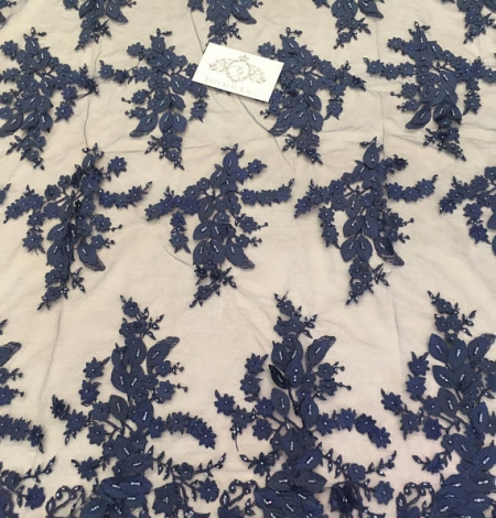 Navy blue 3D flowers lace fabric. Photo 3