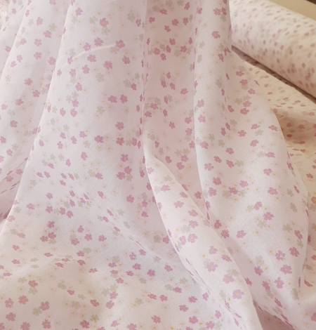 Light pink floral pattern thin batiste fabric. Photo 3