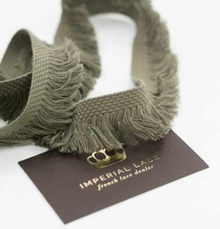 Olive green ribbon with fringes on one side. Photo 3