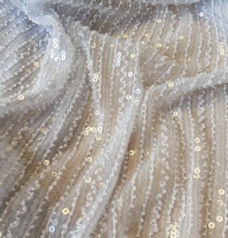 Light blue tulle with sequins and beads fabric. Photo 2