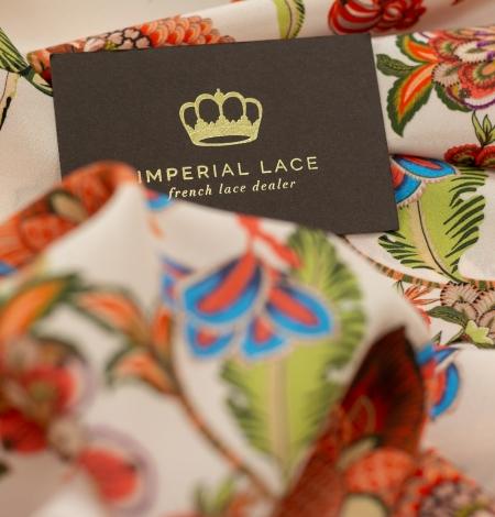 Multicolor floral printed silk crepe fabric. Photo 6