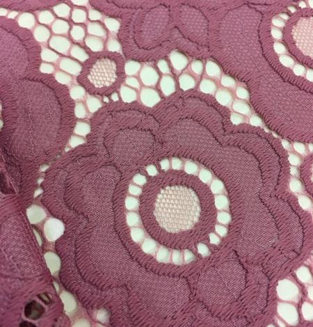 Dark Raspberry Red Lace Fabric. Photo 2