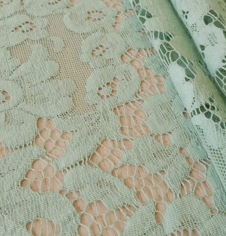 Mint green cotton guipure lace fabric . Photo 3