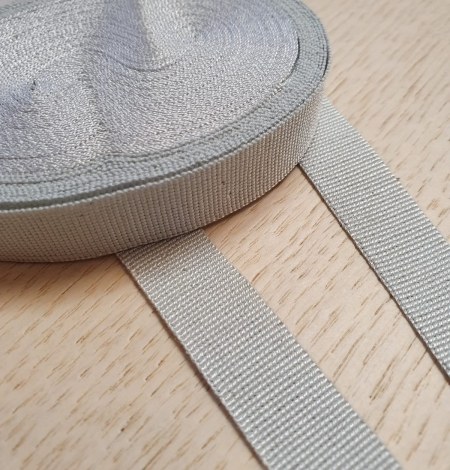 Grey grosgrain viscose ribbon. Photo 5