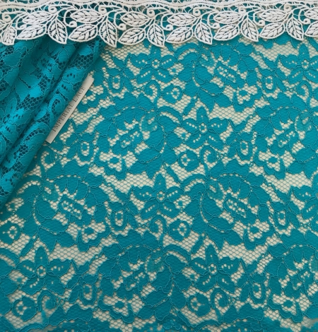 Blue French lace fabric. Photo 2