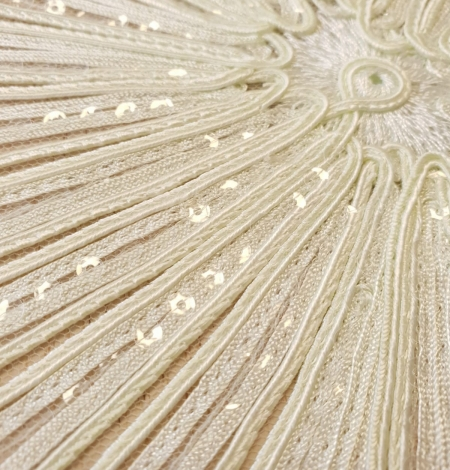 Lettuce green embroidery with sequins on tulle fabric. Photo 6