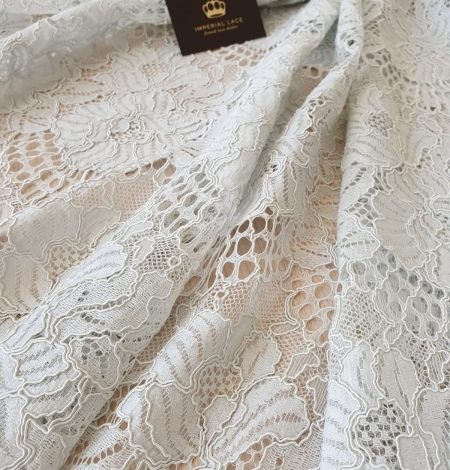 Light grey with bluish green guipure lace fabric. Photo 5