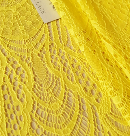 Yellow lace fabric. Photo 5