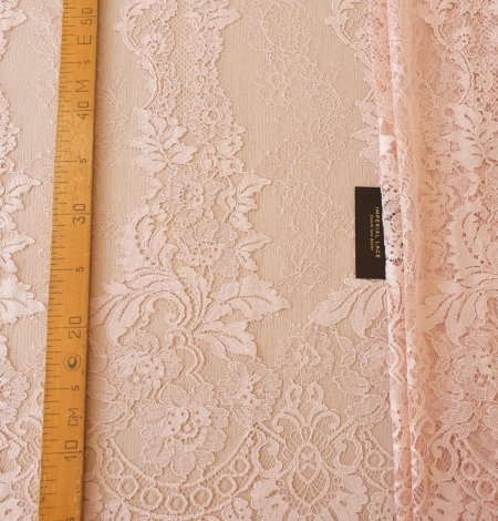 Pink guipure with chantilly lace fabric. Photo 10