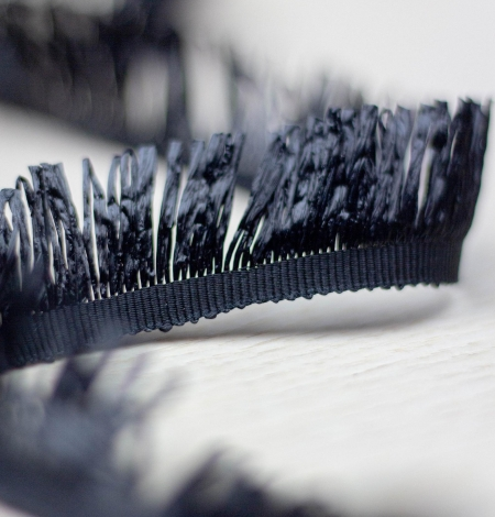 Black grosgrain ribbon with plastic fringes. Photo 2