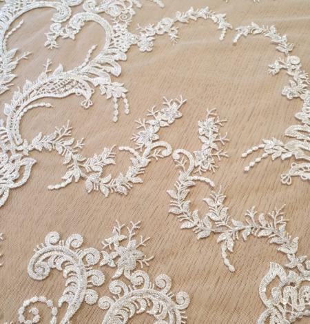 Ivory beaded lace fabric. Photo 3