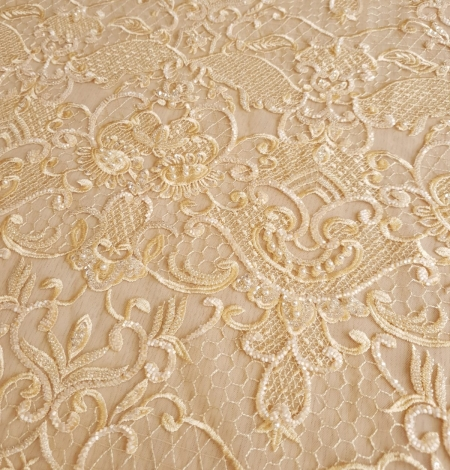 Yellow beaded lace fabric. Photo 4