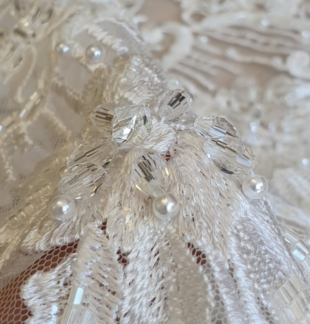 Ivory beaded embroidery on tulle fabric . Photo 3