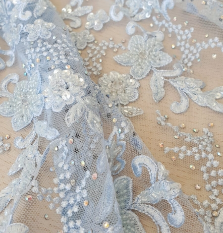 Light blue beaded embroidery on tulle fabric. Photo 4