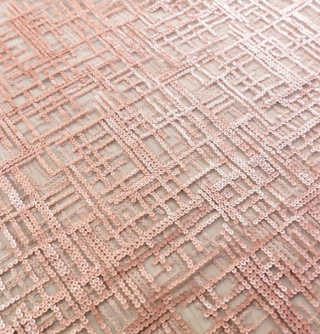Rose gold sequins embroidered fabric . Photo 5