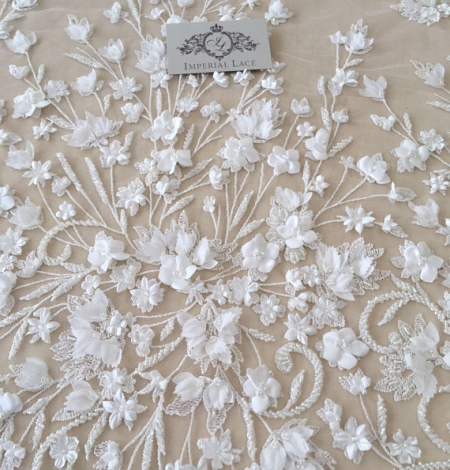 Ivory 3D beaded lace fabric. Photo 6