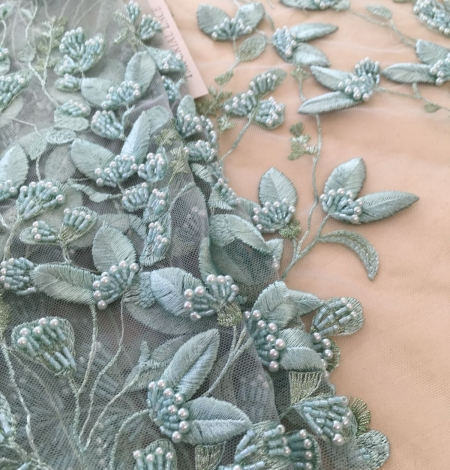 Mint green organic leaf pattern embroidery lace fabric. Photo 6