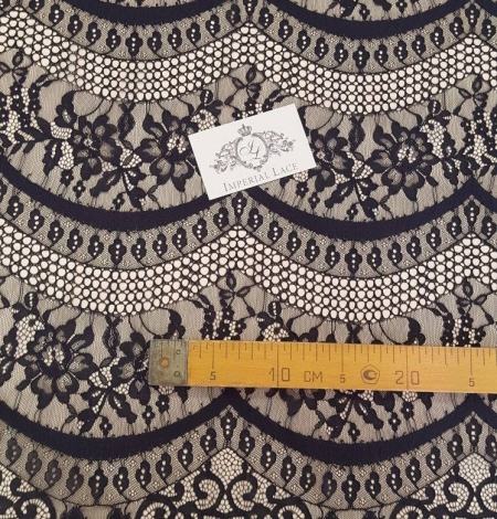 Black lace fabric, French Lace, Alencon Lace. Photo 2