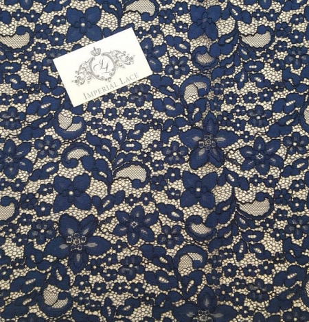 Navy Blue Lace Fabric. Photo 5