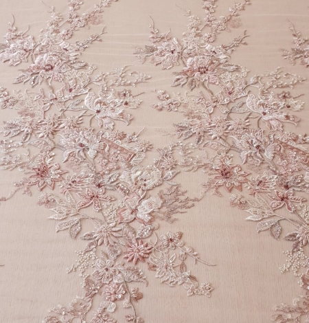 Pink beaded floral lace fabric. Photo 11
