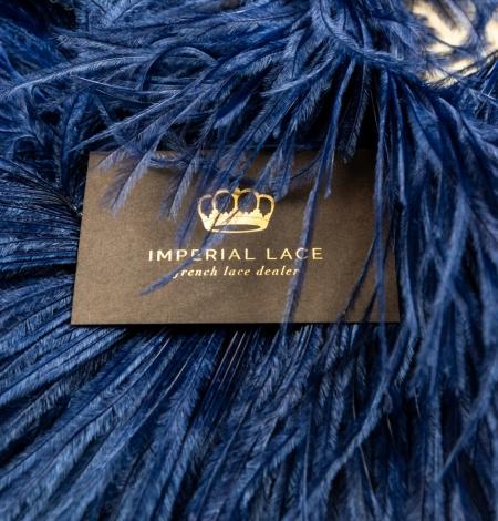 Dark blue natural ostrich feather. Photo 1