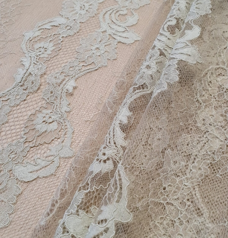 Mint on beige tulle guipure lace fabric. Photo 9