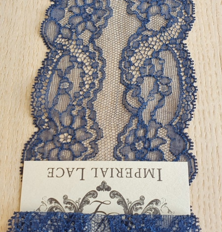 Dark blue elastic chantilly lace trimming. Photo 4