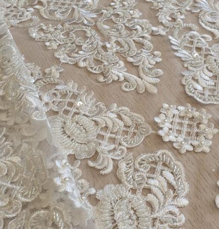 Luxury bridal beaded lace fabric. Photo 7