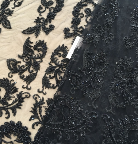 Black beaded lace fabric. Photo 3