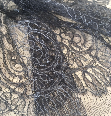 Grey Chantilly Lace Trim from France. Photo 3