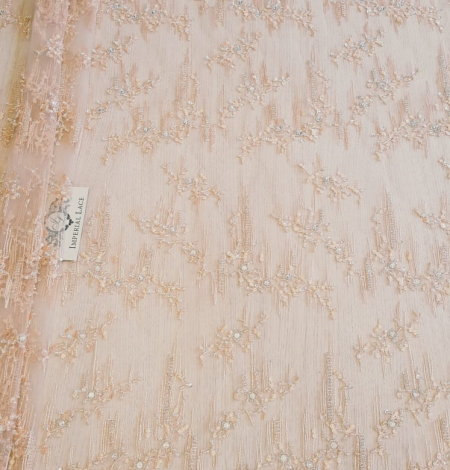 Peach beaded lace fabric. Photo 3