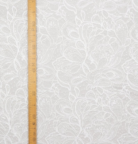 Off white acrame beaded floral lace fabric. . Photo 7