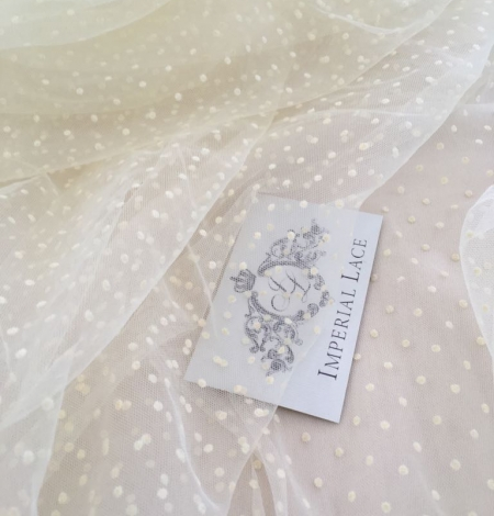 Creme color tulle fabric with dots. Photo 3