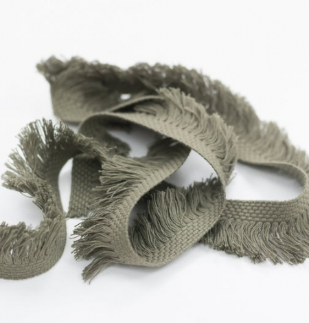 Olive green ribbon with fringes on one side. Photo 4